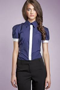 Granatowa koszula SALE z krótkim rękawem