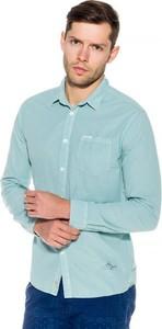 Niebieska koszula Pepe Jeans z kołnierzykiem typu hai
