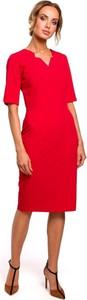 Czerwona sukienka Merg z krótkim rękawem