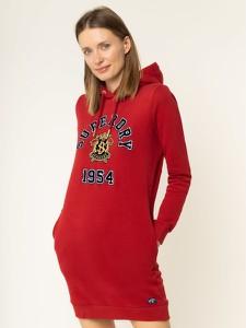 Czerwona sukienka Superdry sportowa mini z długim rękawem