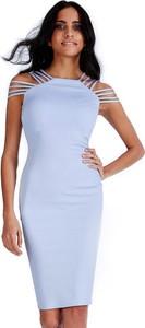 Sukienka stylovesukienki na ramiączkach ołówkowa z okrągłym dekoltem