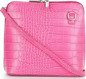 Różowa torebka VITTORIA GOTTI ze skóry lakierowana przez ramię