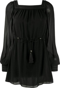 Czarna sukienka SAINT LAURENT z długim rękawem mini