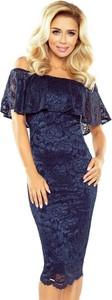 Granatowa sukienka MORIMIA midi hiszpanka z długim rękawem