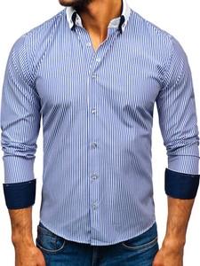 Niebieska koszula Denley z bawełny z klasycznym kołnierzykiem