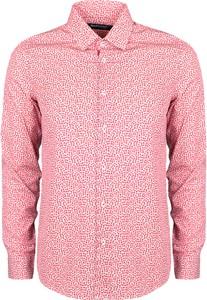 Różowa koszula Guess z klasycznym kołnierzykiem z tkaniny
