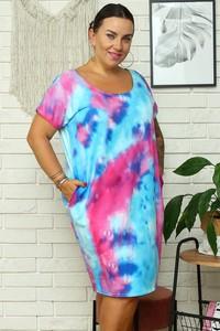 Sukienka KARKO w stylu casual prosta z okrągłym dekoltem