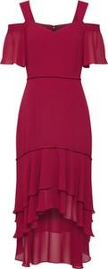 Różowa sukienka S.Oliver Black Label z krótkim rękawem midi