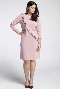 Różowa sukienka Nommo z długim rękawem