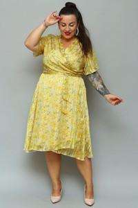 Sukienka KARKO z dekoltem w kształcie litery v z długim rękawem