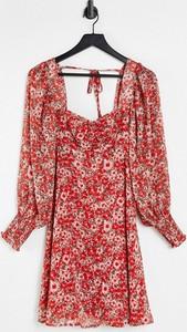 Czerwona sukienka New Look mini w stylu casual z długim rękawem
