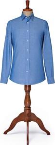 Niebieska koszula LANCERTO z klasycznym kołnierzykiem z tkaniny z długim rękawem