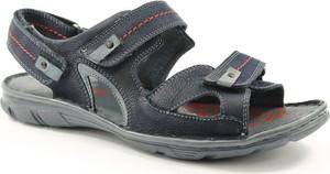 Granatowe buty letnie męskie Krisbut na rzepy