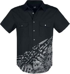 Czarna koszula Emp z klasycznym kołnierzykiem z krótkim rękawem