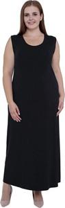 Czarna sukienka modneduzerozmiary.pl w stylu casual z dzianiny maxi