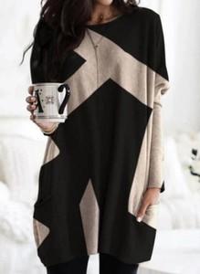 Czarna sukienka Cikelly mini w stylu casual z długim rękawem