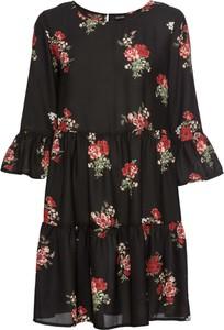 Czarna sukienka bonprix BODYFLIRT z długim rękawem midi w stylu casual