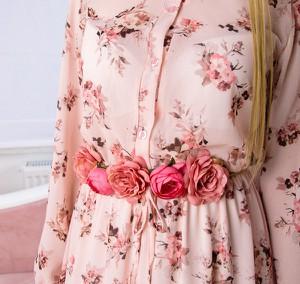 Różowa sukienka madamrock.pl z szyfonu maxi