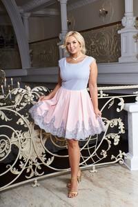 Sukienka Ptakmoda.com mini z krótkim rękawem z okrągłym dekoltem