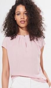 Różowy t-shirt Mohito z krótkim rękawem z okrągłym dekoltem w stylu casual