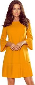 Sukienka NUMOCO z długim rękawem z okrągłym dekoltem rozkloszowana