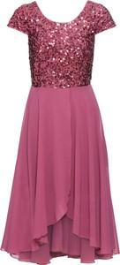 Różowa sukienka bonprix BODYFLIRT z szyfonu w stylu glamour