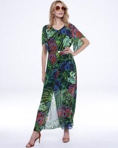 Sukienka L'AF asymetryczna z tkaniny z krótkim rękawem