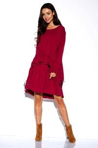 Czerwona sukienka Lemoniade z długim rękawem mini z okrągłym dekoltem