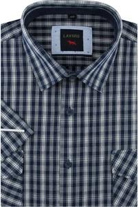 Niebieska koszula Laviino w stylu casual z tkaniny z krótkim rękawem