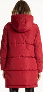Czerwona kurtka Gate długa w stylu casual