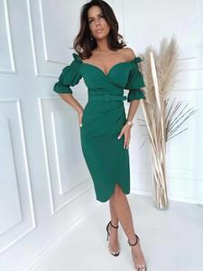 Zielona sukienka Versada z długim rękawem midi