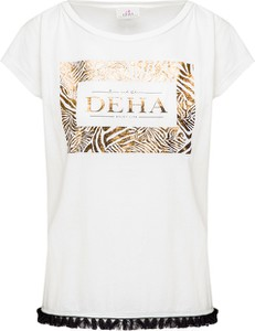 T-shirt Deha w stylu boho z bawełny z okrągłym dekoltem