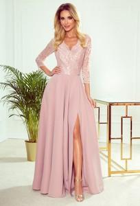 Różowa sukienka NUMOCO z długim rękawem maxi z dekoltem w kształcie litery v