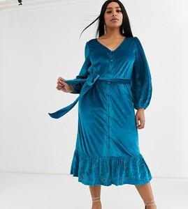 Sukienka Asos z dekoltem w kształcie litery v z długim rękawem midi