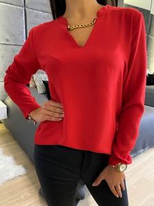 Czerwona bluzka ModnaKiecka.pl w bożonarodzeniowy wzór