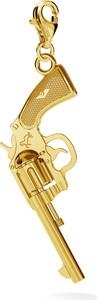 GIORRE COLT REWOLWER SREBRNY CHARMS ZAWIESZKA BEADS 925 : Kolor pokrycia srebra - Pokrycie Żółtym 24K Złotem, Wariant - Charms