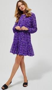 Fioletowa sukienka Moodo z szyfonu mini