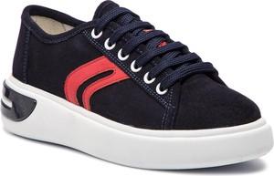 Sneakersy Geox z zamszu na koturnie sznurowane