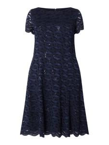 Granatowa sukienka Swing Curve z okrągłym dekoltem z krótkim rękawem