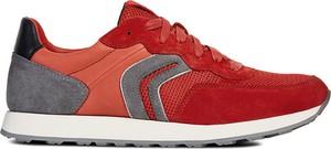 Czerwone buty sportowe Geox ze skóry sznurowane