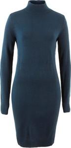 Niebieska sukienka bonprix bpc bonprix collection z dzianiny z długim rękawem