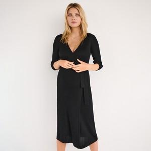 Reserved - Kopertowa sukienka z prążkowanej dzianiny - Czarny