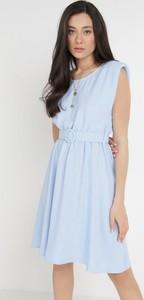 Niebieska sukienka born2be mini bez rękawów