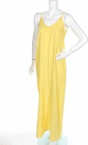 Żółta sukienka ITALY MODA maxi z dekoltem w kształcie litery v