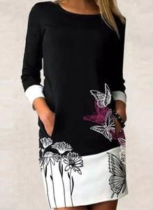Sukienka Arilook z okrągłym dekoltem z długim rękawem mini