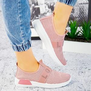 Różowe buty sportowe sklep-szpilka24 z płaską podeszwą