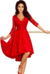 Czerwona sukienka NUMOCO rozkloszowana z długim rękawem z dekoltem w kształcie litery v