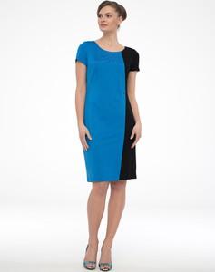 Niebieska sukienka POTIS & VERSO z krótkim rękawem dopasowana