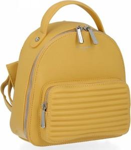 Żółta torebka David Jones ze skóry ekologicznej na ramię
