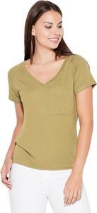 Brązowa bluzka Katrus w stylu casual z krótkim rękawem